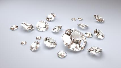 Eighteen White Diamonds on a White Background