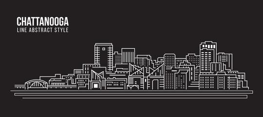 Cityscape Building Line art Vector Illustration design - Chattanooga city