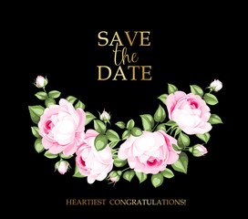 Blooming rose garland on the bottom of invitation card isolated over black background and text place. Congratulation text card with Save the date sign. Vector illustration.