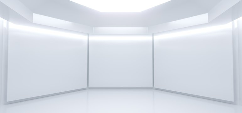 3D Rencering Of Realistic Empty White Room With Lights