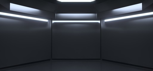 3D Rencering Of Realistic Empty Dark Room With Lights