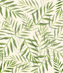 Palm branch art, jungle Palma leaves Background - Watercolor Palm branch oil painting artwork. floral illustration