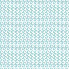 Retro Seamless Pattern Waves Turquoise Little