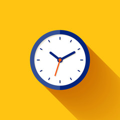 Clock icon in flat style, timer on orange background. Business watch. Vector design element for you project