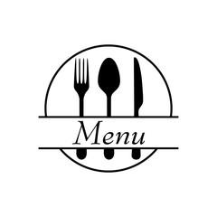 Icono plano MENU con cubiertos y circulo en color negro