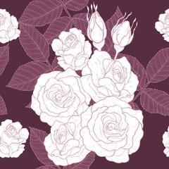 Rose pattern by hand drawing.Red rose high detail for wallpaper.Flower seamless pattern on vintage background.Rosa queen elizabeth rose for batik cloth.