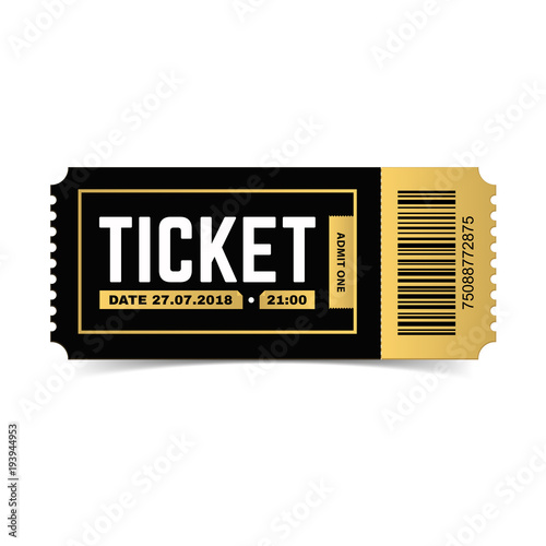 Vector ticket isolated on white background. Cinema, theater, concert ...