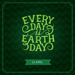 Happy Earth Day vector green leaf greeting card