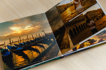 Open book with venice image