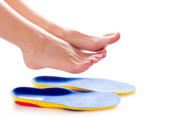 orthopedic insoles and female legs