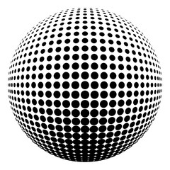 Abstract round 3d black sphere consisting of dots in form of halftone. Scientific and technical frame illustration. Flat cartoon illustration. Objects isolated on a white background.