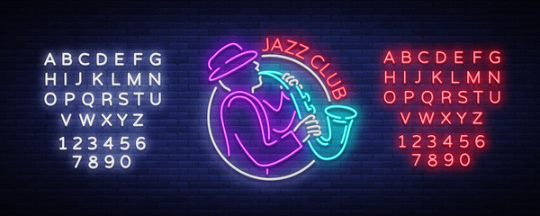 Jazz Club Neon Vector. Neon sign, Logo, Brilliant Banner, Bright Night Advertising for your projects on Jazz Music. Live music. Editing text neon sign Fotomurales