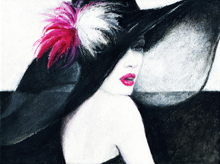 Foto auf AluDibond Ikea beautiful woman. fashion illustration. acrylic painting