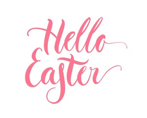 Lettering, hello easter, pink, isolated. Welcome inscription for the spring holiday on cards, posters and banners. Vector illustration
