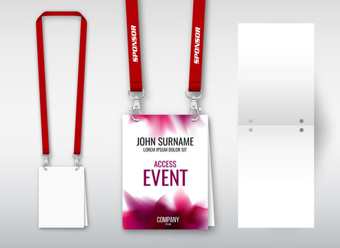 Design of double hole lanyard. Example with double program card. Access ID for congresses, events, fairs, exhibitions.
