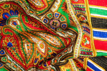 Texture, background, pattern. Woman's headscarf, shawl. Bright colors. Paisley. Indian themes. Fabric for clothes Fabric 100% silk. One Fashion Soft Women's Shawl Red Georgette Female Swarf