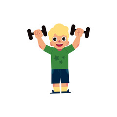 Vector flat young blonde kid boy, man in casual clothing doing dumbbells workout exercises. Active lifestyle male character doing sport. Isolated background illustration