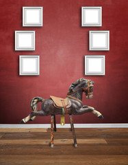 Vintage wooden children horse with Alu frames