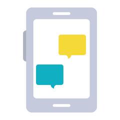 smartphone device with speech bubble vector illustration design