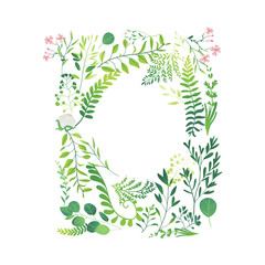 Vector cartoon abstract green plants flower herbs frame template. Meadow garden spring easter, women day romantic holiday, wedding invitation card summer floral Illustration white background