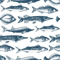 Fish seamless vector pattern. Can be use for restaurants, packaging, emblem, vector image. Vintage illustration