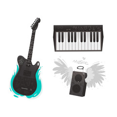 Vector flat music symbols set. Electric guitar, loudspeaker with angel wings, nimbus, piano. Heavy metal, hard classic punk rock culture. Isolated background illustration