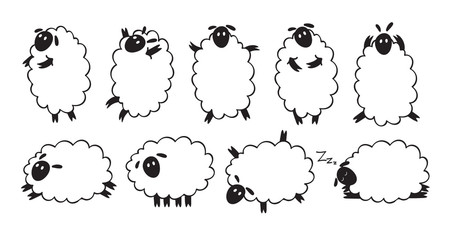 Funny sheeps icons set. Doodle style.
