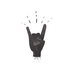 Vector flat hand showing rock and roll sign gesture by fingers. Heavy metal, hard classic punk rock music culture symbol. Isolated illustration on a white background.