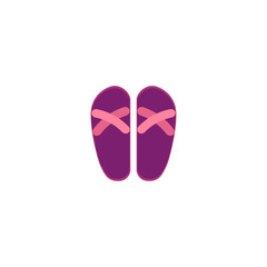 Pair of pink and purple rubber flip-flops, typical summer vacation footwear, flat cartoon vector illustration isolated on white background. Flat cartoon rubber flip-flops, summer footwear