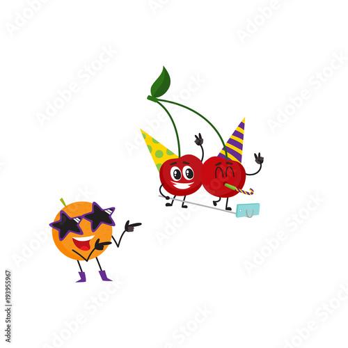 Vector flat fruit characters summer party set  Orange in