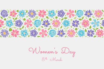 Vintage postcard with pastel coloured flowers - Women's Day. Vector.