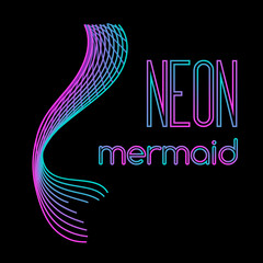 Neon mermaid tail made of parallel lines
