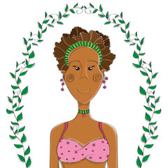 Cartoon afro american girl in bikini with leaf frame. Vector illustration, isolated on white.
