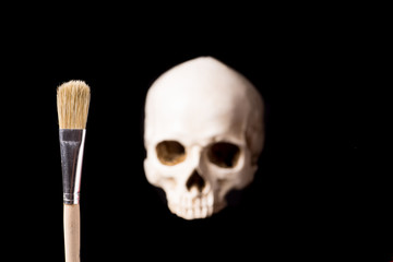 Skull and brush