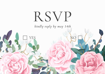 Floral wedding invitation with pink roses on white background. Horizontal RSVP or save the date template. Classic vector design.