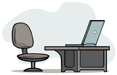 Cartoon laptop on table with office chair