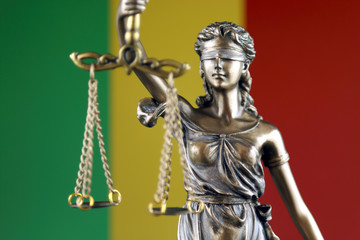 Symbol of law and justice with Mali Flag. Close up.