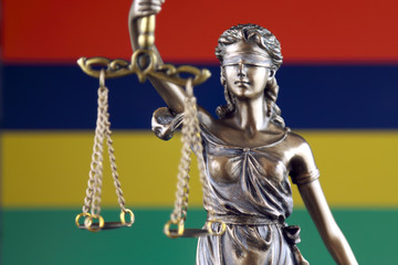Symbol of law and justice with Mauritius Flag. Close up.
