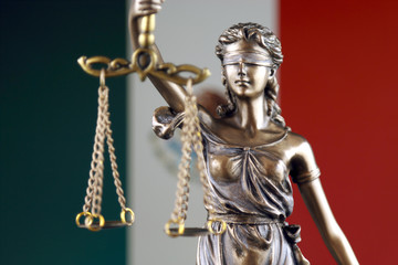 Symbol of law and justice with Mexico Flag. Close up.
