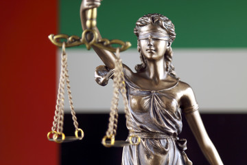 Symbol of law and justice with United Arab Emirates Flag. Close up.