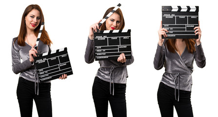 Set of Beautiful young girl holding a clapperboard
