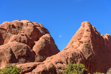 Closeup of The Devils Garden with Half Moon, Arches National Park, Moab, Utah
