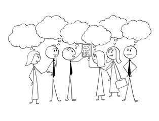 Cartoon stick man drawing conceptual illustration of business team or group of businessmen and businesswomen working together to find problem solution. Concept of teamwork and brainstorming.
