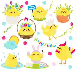 Cute cartoon chickens set. Easter chickens in eggs anf flowers, singing, painting and having fun. Isolated clip art for Easter design, stickers