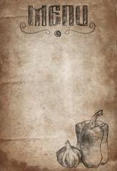 Vintage paper with hand drawn pepper and garlic. Restaurant Menu background