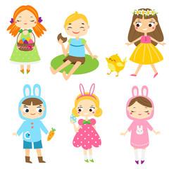 Easter kids. Boys and girls children having outdoor Easter activity