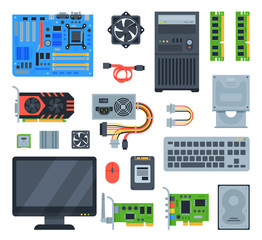 Computer accessories vector pc equipment motherboard memory and keyboard illustration computing set isolated on white background