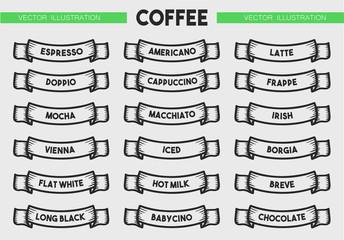 Coffee menu icon set