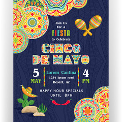 Join us for fiesta to celebrate Cinco De Mayo poster template.