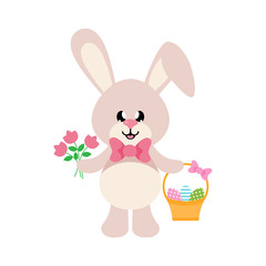 cartoon easter bunny with tie and basket easter egg and flowers
